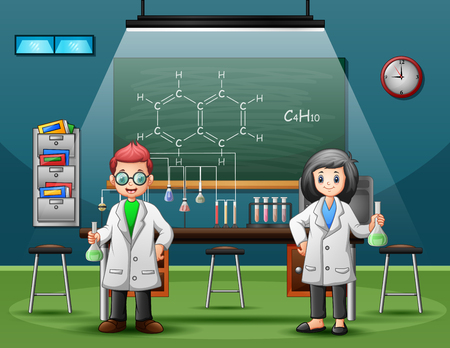 Male and female chemist holding liquid in test tube Illustration