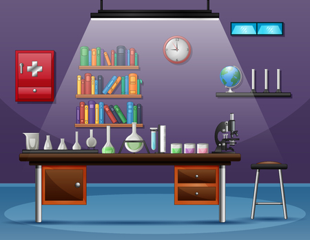 Health laboratory room with table full of instruments for scientific experiment