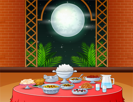 Iftar party with delicious dishes on the dining table Vector Illustration