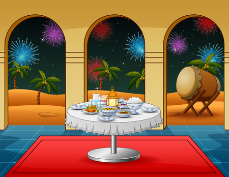 Celebration takbir night with food dishes at the mosque Stock Illustratie