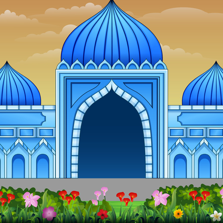 Blue mosque building with a flowers on the road 일러스트