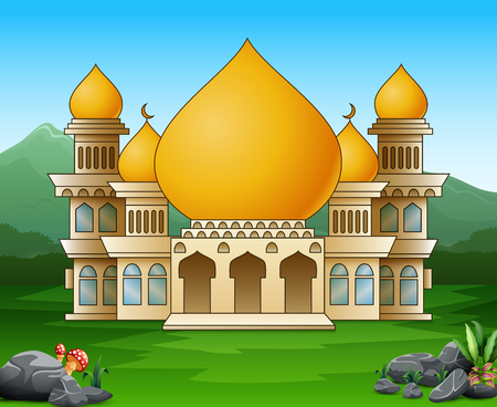 Islamic mosque building in the green field 일러스트