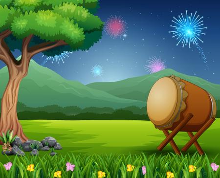 Naturlandschaft mit Trommel und Feuerwerk am Himmel Vektorgrafik