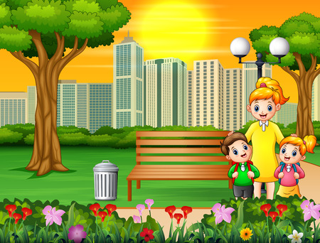 Happy mother and children in the city park Иллюстрация