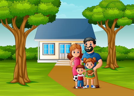 Cartoon family in front of the house yard 일러스트