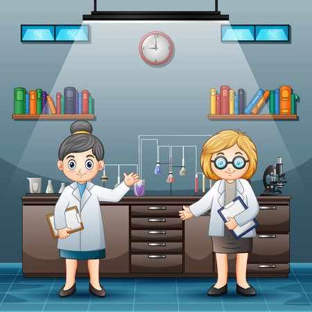 Two female scientist in white lab coats in a laboratory room