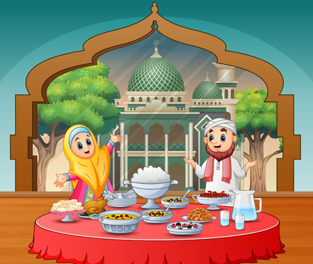 Muslim couple celebrating Eid in Iftar party Иллюстрация