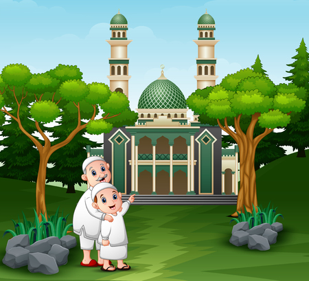 Muslim people cartoon going to the mosque 일러스트