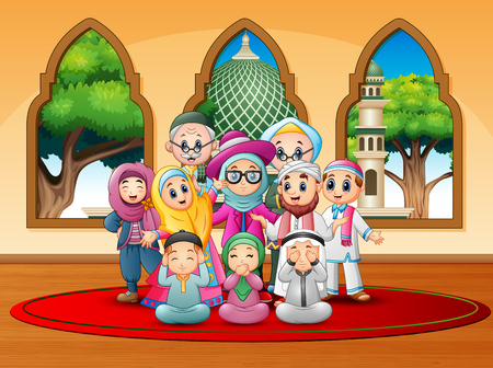Happy family celebrate for eid mubarak at mosque Illustration