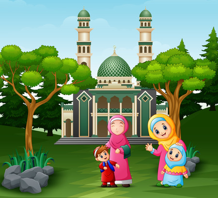 Cartoon Mothers and children in front the mosque