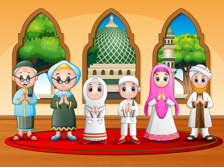 Happy muslim family wishing at the mosque Illustration