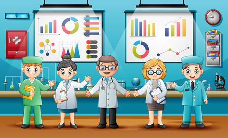 Doctors with professional chemists in the laboratory room