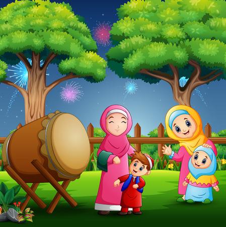 Happy people celebrating eid mubarak in the park Çizim