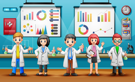 Concept World Science Day with Scientists Illustration