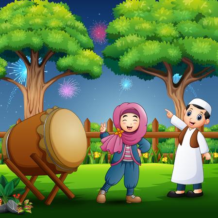 Young Muslim Boy and Girl Celebrating Ramadan Stock Illustratie