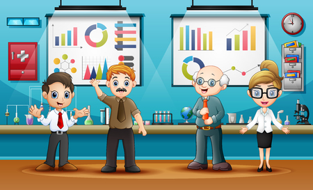 World Science Day with scientists in laboratory room Illustration