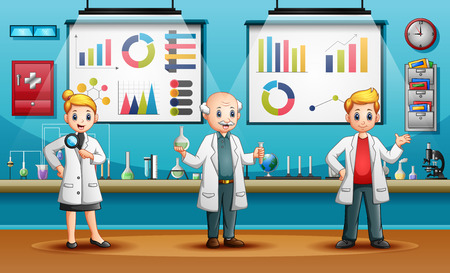 Scientists man and woman conducting research in a lab