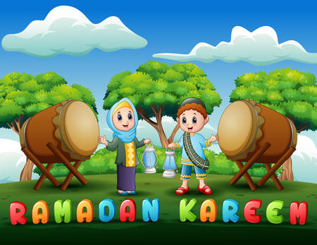 Muslim Boy and Girl holding lantern for Ramadan celebration Standard-Bild - 122296723