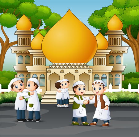 Muslim people shaking hands each other in front a mosque