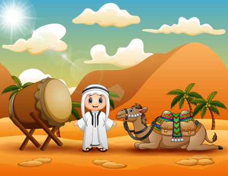 Arabischer Junge mit Kamel feiert Eid Mubarak