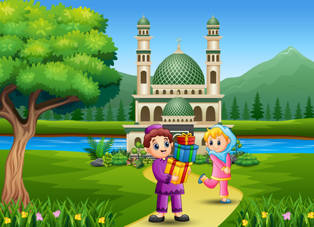 Cute Islamic boy giving gifts to girl in front the Mosque