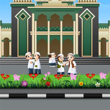Happy Muslim Kids Cartoon in front of a mosque