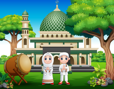 Cartoon couple muslim in front the mosque 일러스트