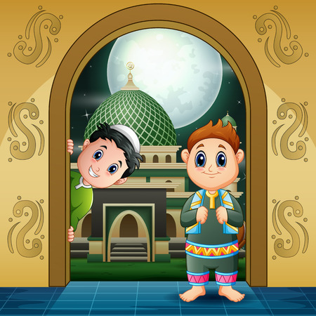 Happy Children to enter the Mosque