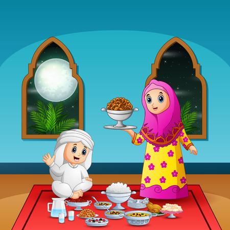 Woman Muslim preparing food for iftar party 向量圖像