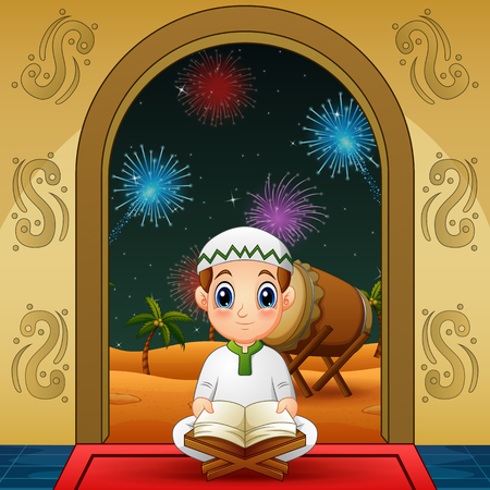 Cute Little muslim boy reading Quran at night background