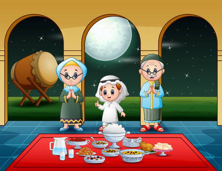 Muslim family celebrating iftar party