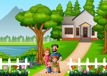 Cartoon family in front of the house yard  イラスト・ベクター素材