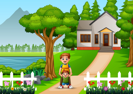 Happy father with her son in front of the house yard