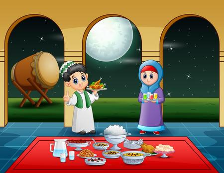 Couple Muslim preparing iftar food at the ramadan month Vectores