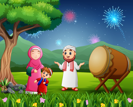 Happy Muslim family celebrating Eid festival on nature view Stock Illustratie