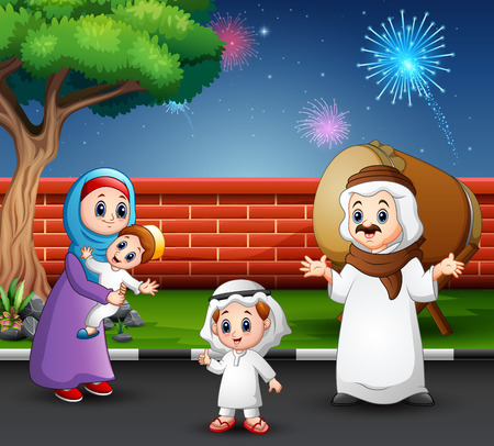 Happy family celebrate for eid mubarak in the park Ilustrace