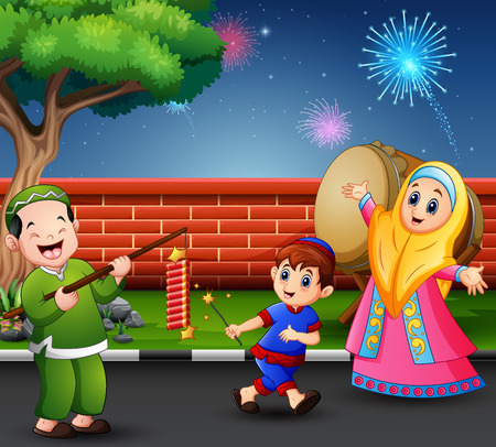 Happy muslim people celebrate for eid mubarak with firecracker Ilustrace