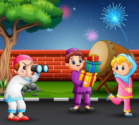 Happy kids celebrate for eid mubarak with nature and fireworks background