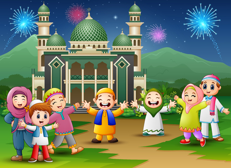 Happy kids celebrate for eid mubarak with mosque and fireworks background