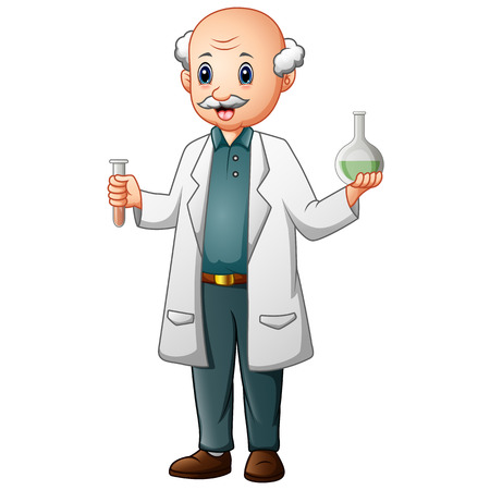 Funny old chemist holding test tubes and flasks  イラスト・ベクター素材