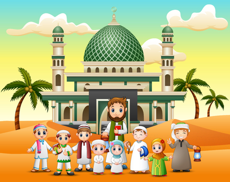 The children and their teacher in front a mosque
