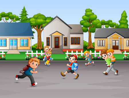 Cartoon of children playing at rural house yard Vectores