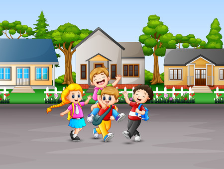 Cartoon of children going to school