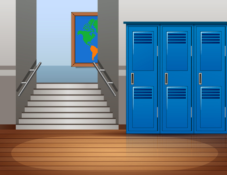 Cartoon empty school interior background