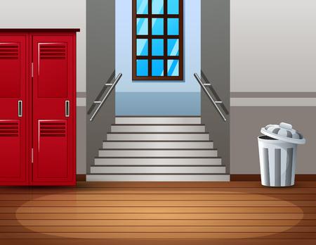 Bright college interior of hallway with red locker