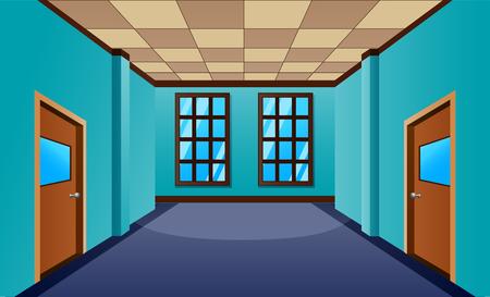 Cartoon school hallway with window and many doors