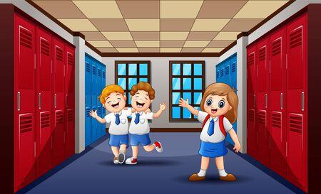 Funny students walking and laughing at school hallway Ilustração Vetorial