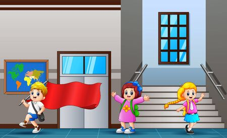 Happy student walking at school hallway Illustration