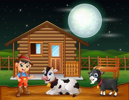 Farmer and farm animal in the farmyard at night