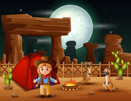 Cartoon cowgirl camping with meerkats at night